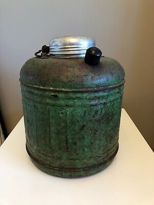 VINTAGE GREEN METAL WOOD HANDLE THERMOS WATER COOLER JUG W/POUR SPOUT 1930's ?