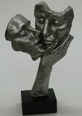 Abstract Couple Kissing In Embrace Cold Cast Bronze Sculpture figurine Figure