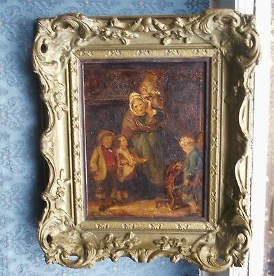 Old Antique Victorian Oil Painting Panel Interior Family Scene c.1860 Framed