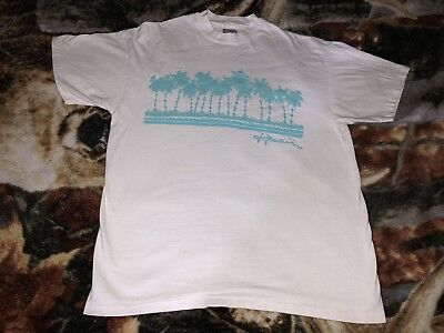 """Vintage 80s HAWAII T Shirt White Large Palm Trees Hanes Beefy Tee W:21"""""""
