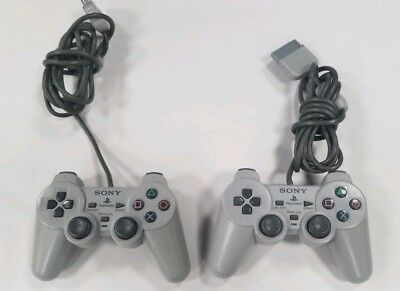 Lot of 2 Sony PlayStation 1 Controllers PS1 Dual Analog Official. Works! *Read