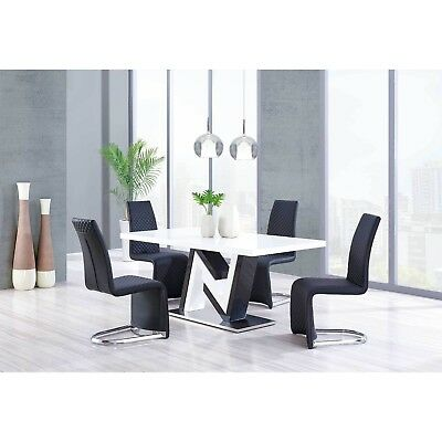 Rectangular Black & White Lacquer Dining Set w/ Black Contemporary Dining Chairs
