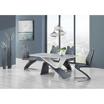 Sleek Grey Glass Top Two-Tone Piggyback Design W/Upholstered Z-Style Grey Chairs