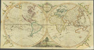 "1770 - Original Antique Map ""THE WORLD"" by T KITCHIN Hand coloured Hemispheres"