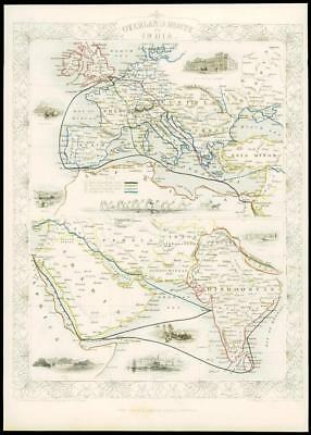 "1850 Antique Map ""OVERLAND ROUTE TO INDIA"" UK through Europe by Tallis (124d)"