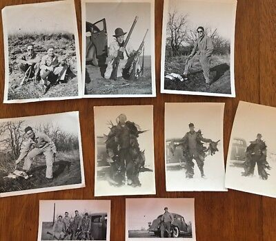 Lot Of 9 Original Antique Hunting Photos  Birds, Rabbits, Old Cars, Nice!