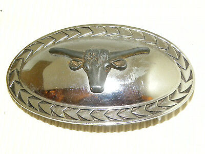 Vintage Texas Long Horn Copper Silver Plated Belt Buckle 3 5/8 wide 2 1/8 tall
