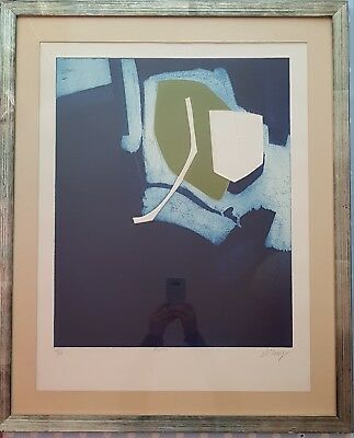 Bertrand Dorny (1931-2015) Signed, Numbered Print blue green mid century modern