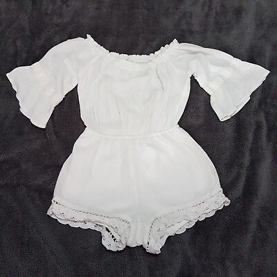 Girls White Off Shoulder Romper Playsuit USA Brand Age 5-6 Years