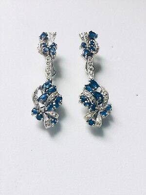 50's Vintage Art Deco Palladium Sapphire and  Diamonds  Chandelier Earrings