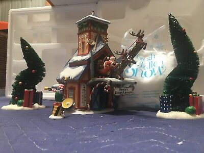 New- Department 56 North Pole Series SANTA'S SLEIGH LAUNCH w/ box Complete Set