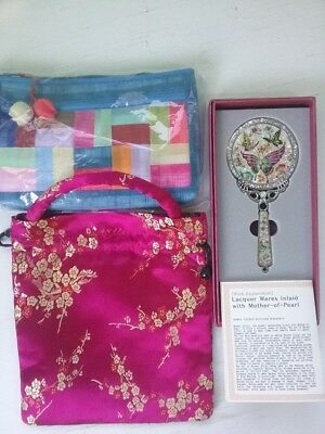 Mother-of-Pearl Inlaid Butterfly Korean Tradition Art Hand Mirror & 2 Cloth Bags