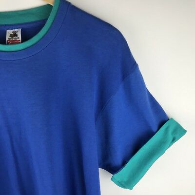 Vintage Fruit of the Loom Mens Contrast Color T Shirt Large Blue Layered