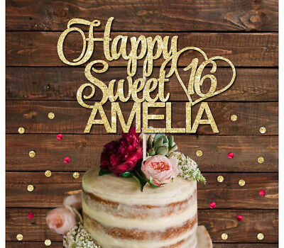 HAPPY SWEET 16 NAME GLITTER CAKE TOPPER 18th 21st 30th, any age cake decoration