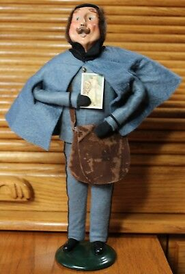 """Byers Choice Christmas Caroler Postman Mail Pouch Vintage 1992 13"""" tall"""