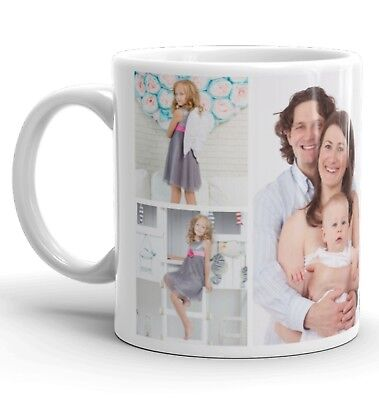 Personalised 7 Photo Collage Mug Cup Heart Birthday Christmas Gift No Text