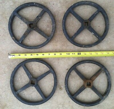 "Lot of (4) 8"" Vintage Industrial Cast Iron Water Valve Handle Steampunk Lamp Art"