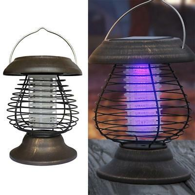 Solar Powered Outdoor Mosquito Fly Bug Insect Killer w/Trap Lamp Light Zapper SH