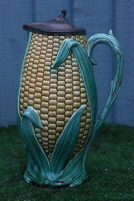 LARGE 19thC MAJOLICA SWEETCORN & LEAF PITCHER or JUG WITH PEWTER LID c1880s