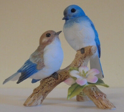 ANDREA by Sadek # 7955 TWO BLUE BIRDS ON BRANCH With Flower. EXCELLENT
