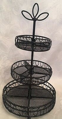 Vintage Black Wrought Iron/Wire Caddy 7x13