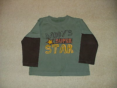 Baby Boys Long Sleeved Daddy's Superstar Layered Look Top Age 12-18 Months
