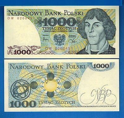 Poland P-146c 1000 Zlotych 1982 Kopernicus, Solar System Uncirculated Banknote