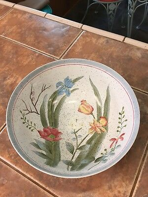 """ANDREA BY SADEK  BOWL 9"""" FLORAL DESIGN HAND PAINTED Signed Very Nice Decorative"""