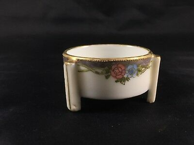 Nippon China Hand Painted 3 Leg Salt Cellar Open Footed Dip Gold Dish Floral