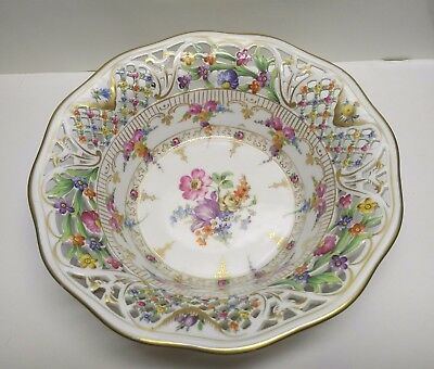 Vintage Schumann Dresden Flowers Reticulated VERY RARE Serving Bowl.