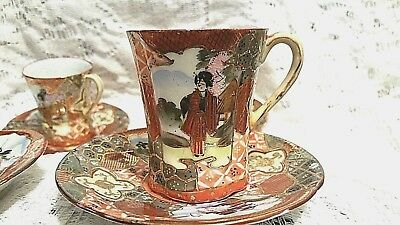 Antique Set of 4 Japanese Kutani Eggshell Hand Painted Cup & Saucer Meiji Period