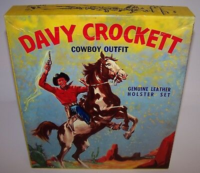 Davy Crockett Cowboy Outfit Genuine Leather Holster Set Vintage