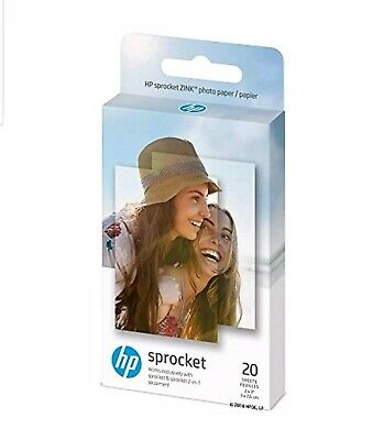 NEW HP 1AH01A Sprocket Photo Paper for Sprocket Portable Printer 20 Sheets