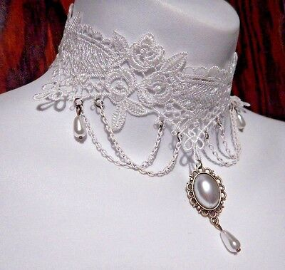 SOUTHERN BELLE white floral lace choker collar necklace Victorian Wedding NEW S4