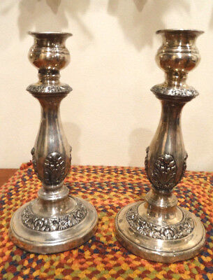 "Pair of Antique 9"" Tall Ornate Silver Plate Candlesticks"