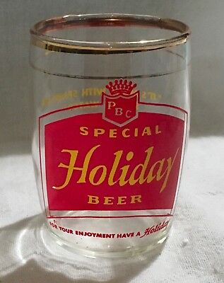 Vintage HOLIDAY BEER BARREL GLASS PBC BREWERY OSHKOSH WI WIS