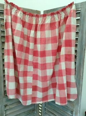 Antique French Vichy check fabric curtain. Pink lovely faded hand sewn