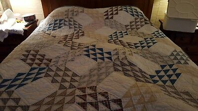 Antique/vintage piecework quilt, feed sack fabrics, blues/browns, EXCELLENT