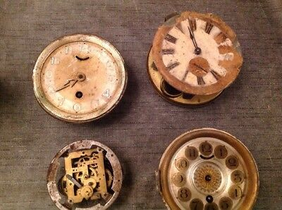 Antique Clock Movements Four for Restoration Or Spare Parts 95 120 120 & 125mm