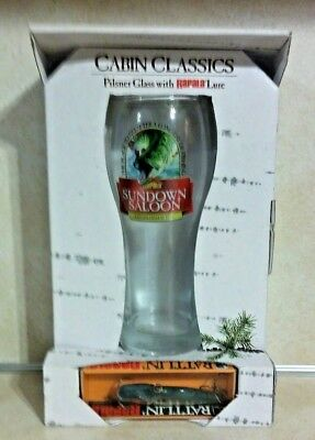 Cabin Classic Pilsner Glass & Rapala Lure Honey Hole Pub New Old Stock