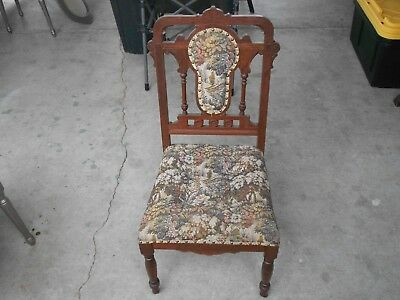 Antique Vintage Victorian Eastlake Style Parlor Side Chair Circa 1890's !