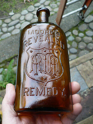 Western amber applied top patent medicine MOORES REVEALED REMEDY 1880s