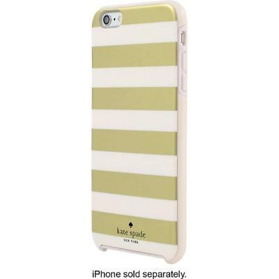 Kate Spade iPhone 6 iPhone 6s Hard Shell Case Snap Cover Gold Cream White Stripe
