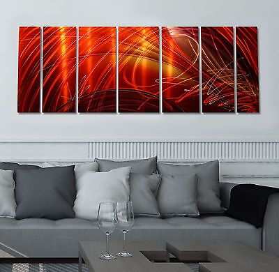 Red/Gold Abstract Hand Painted Metal Wall Art Sculpture by Jon Allen