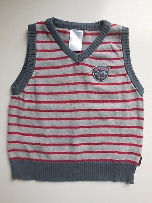 'pumpkin Patch' Baby Boy Knitted Cotton Sleeveless Jumper Vest Size 0 Fits 6-12M