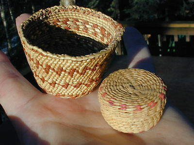 Two Small Northwest Coast Quinault Baskets