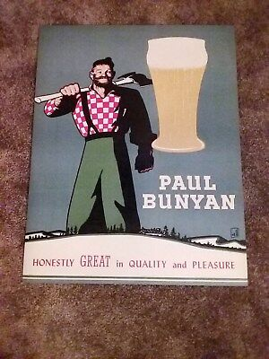VINTAGE PAUL BUNYAN BEER POSTER 1950s  SIGN ADVERTISING CAN BOTTLE GLASS NOS