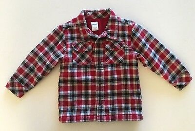 Gymboree Boy's Plaid Lined Shirt Jacket Red Black White Size 2T