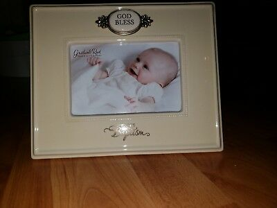 God Bless Baby Baptism Ceramic Frame 9 1/4 By 7 1/2 Holds 4 x 6 Photo NEW IN BOX