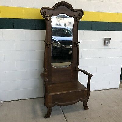 Antique Quarter sawn Mirrored  HALL TREE Tall   Seat Bench Storage early 1900's